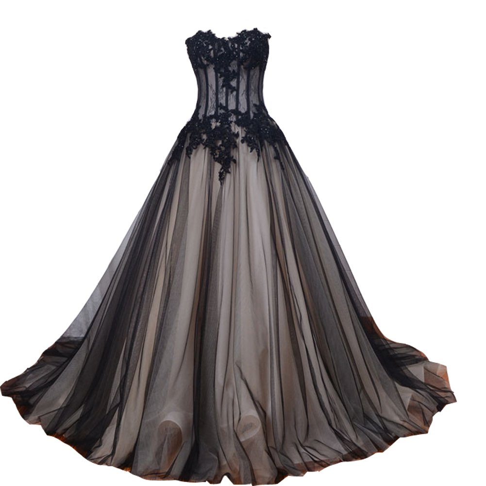 Amazon Kivary Long Black And Champagne Lace Gothic Prom