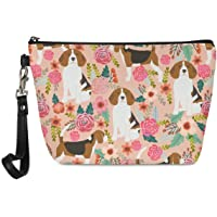 Mumeson Small Toiletry Cosmetic Handy Bag for Women Ladies Pink Floral Beagles Zipper Closure Travel Pouch Storage…