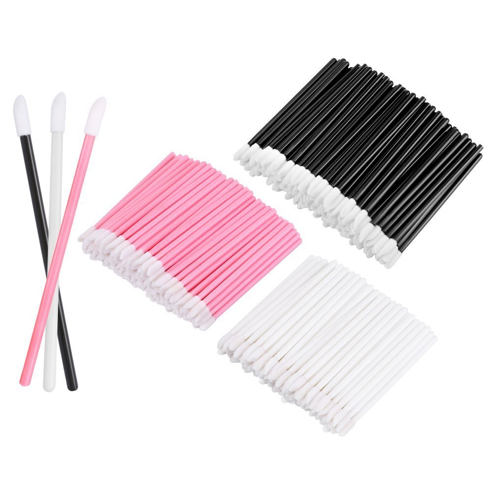 M-Aimee 300 Pack Disposable Lip Brushes Lipstick Gloss Wands Applicator Makeup Tool Kits, Black+White+Pink