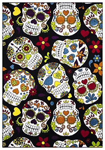 Halloween Decor - Vega Skulls Graphic Machine Made Polyester Area Rugs for Living Room - Black - 2'6