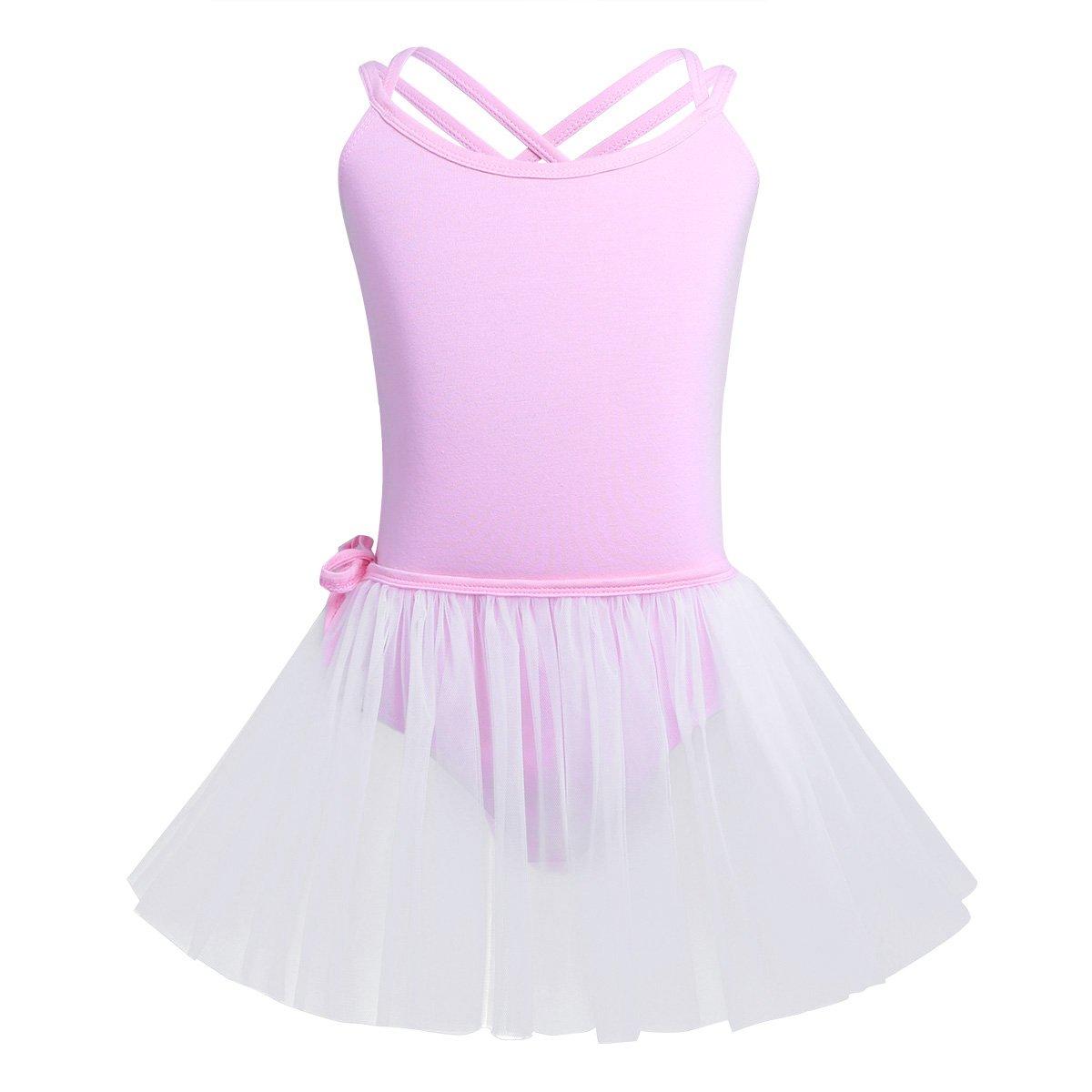 iEFiEL Kinder Ballettanzug mit Mesh Ballett Wickelrock Ballett Trikot Tütü Ballettkleidung Set Gymnastikanzug