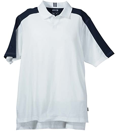 87993480 Adidas Men's Short Sleeve ClimaLite Colorblock Polo - White/Navy A43 XL