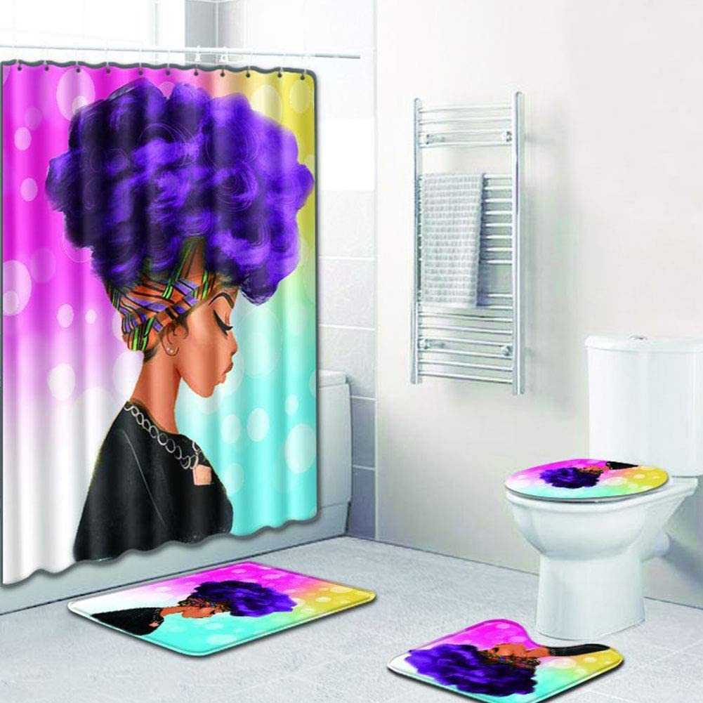EVERMARKET Creative Colorful Printing Toilet Pad Cover Bath Mat Shower Curtain Set for Bathroom Decor,4 Pcs Set - 1 Shower Curtain & 3 Toilet Mat and Lid Cover (African Woman Purple Hair)