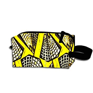 8625358ce7 Amazon.com   Cosmetic Bags Travel Portable Makeup Pouch African Ankara Wax  Print Yellow Clutch Bag with Zipper   Beauty