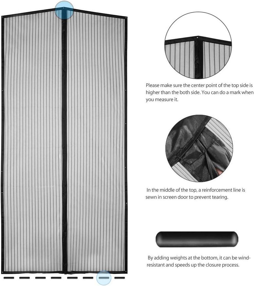 Cortina Mosquitera para Puertas Negro MODKOY Mosquitera Puerta Magnetica 70x210cm Adsorci/ón magn/ética Plegable Circulacion de Aire Puertas//para Pasillos