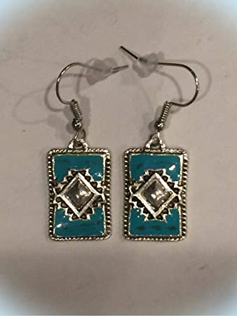 Turquoise Simple Rectangle Earrings 925 Sterling Silver Dangle Drop New