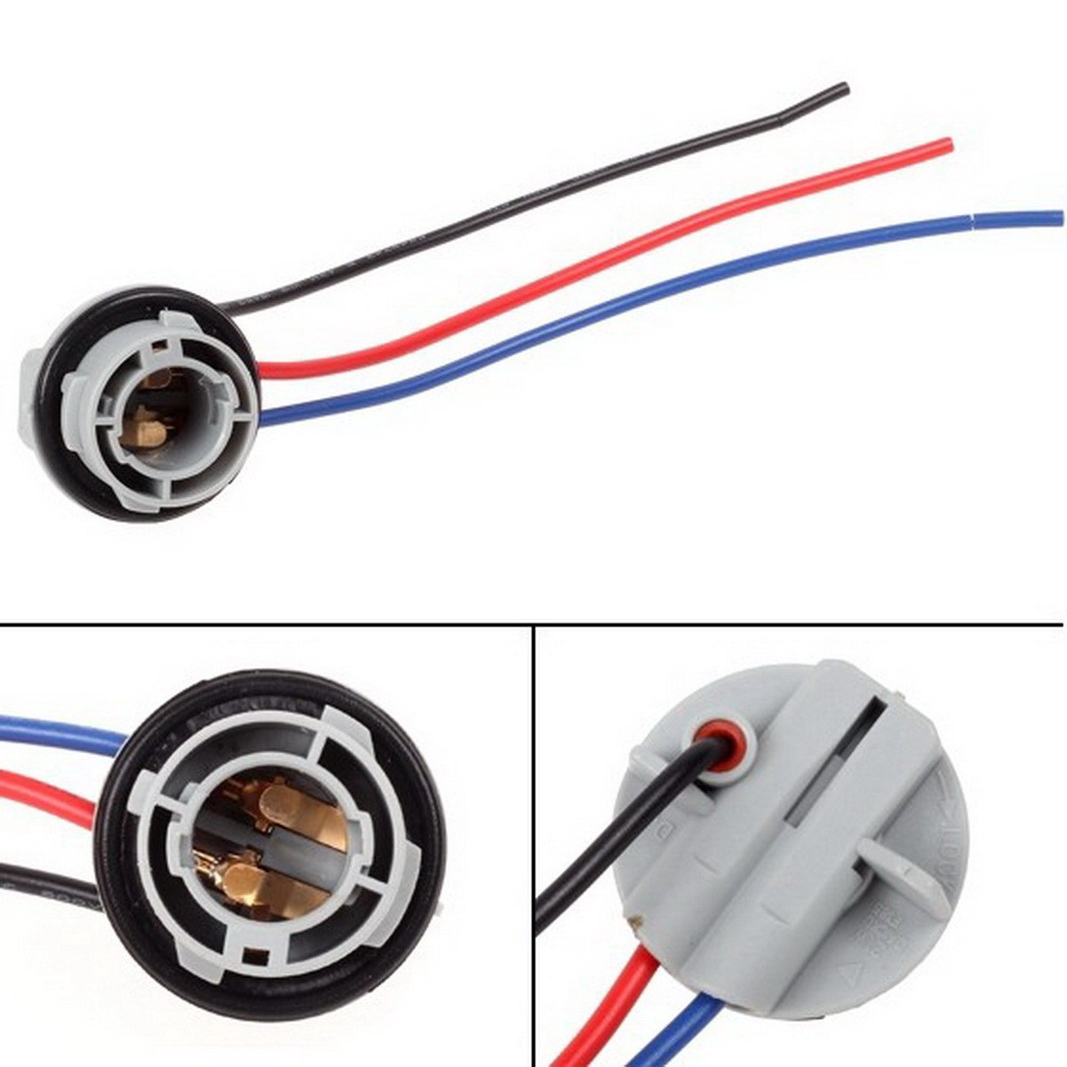 Partssquare 1pair 1157 2057 2357 Replacement Plug Sockets Extened Wiring Harness Tail Brake Light