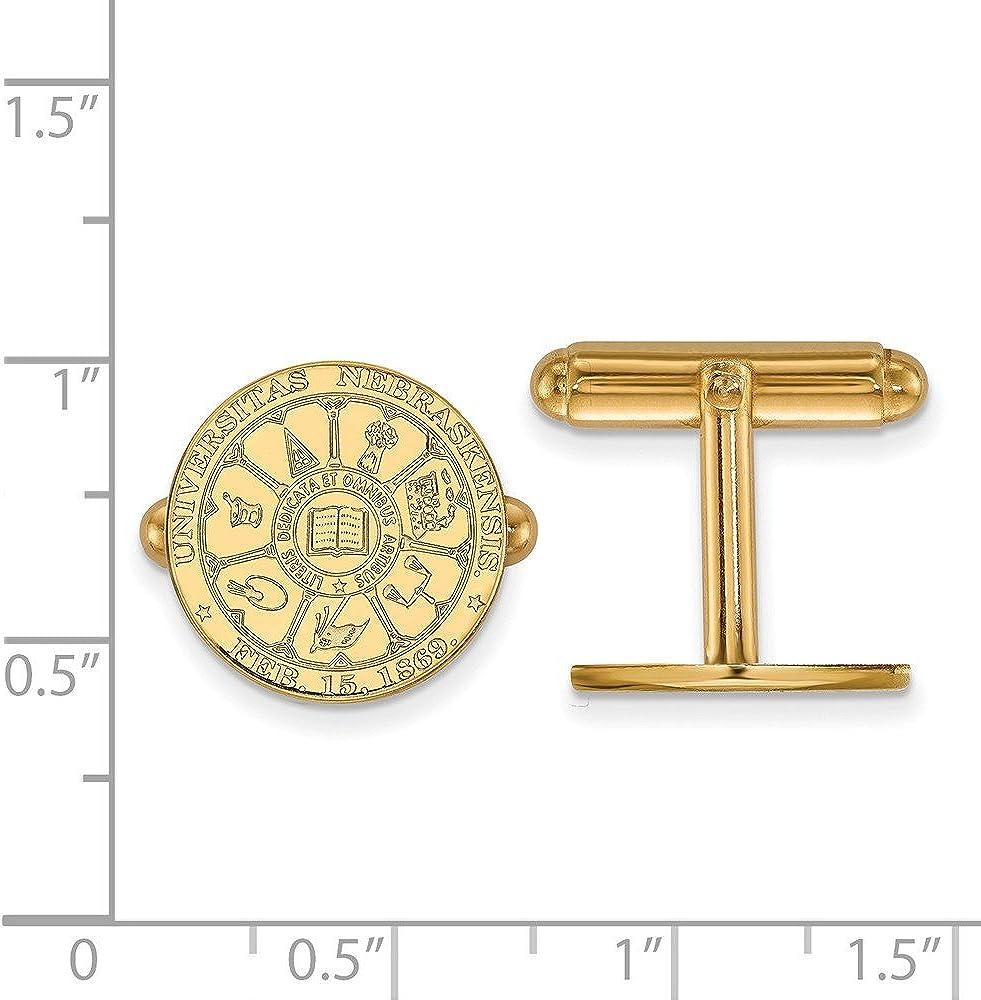 15mm x 15mm Jewel Tie 925 Sterling Silver with Gold-Toned University of Nebraska Crest Cuff Link