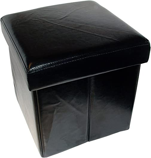 Home Fashions Folding Black Faux Leather Storage Ottoman