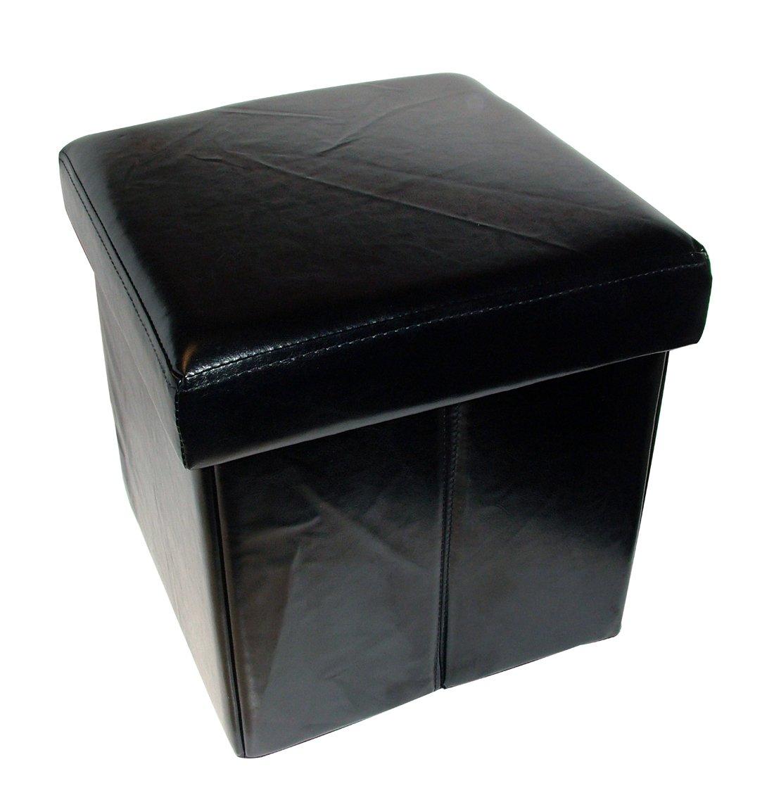 Home Fashions Folding Black Faux Leather Storage Ottoman