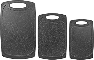 Home Basics, Black 3 Piece Double Sided Granite Look Non-Slip Plastic Cutting Board Set with Deep Juice Groove and Easy Grip Handle, 1 Pack