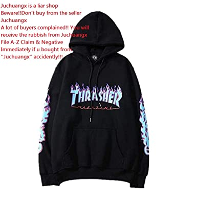 Fashion Flame Print Plus Velvet Pullover Hoodie for Men Women at Amazon  Men s Clothing store  303fa24543