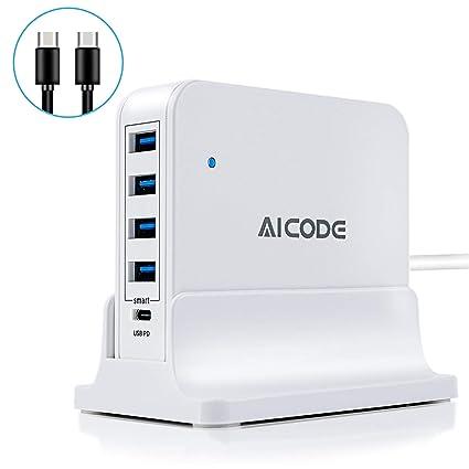 Amazon.com: Cargador USB-C de 4 puertos 5 V/2,4 con estación ...