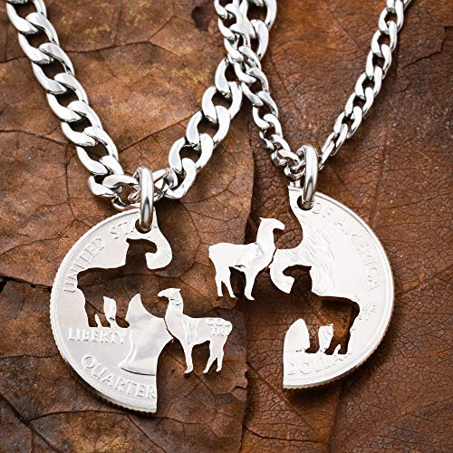 Llama Best Friends Necklaces, BFF Gift, Friendship Jewelry, Personalized Hand Cut Coin