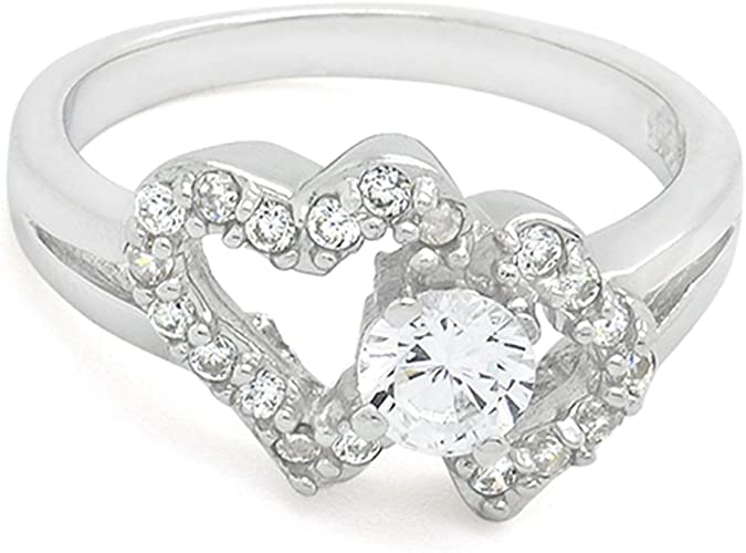 Sterling Silver Cz Open Heart Ring