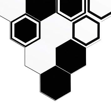 Fdit Autocollant de Carrelage Autocollants de Sol Noir et Blanc DIY ...