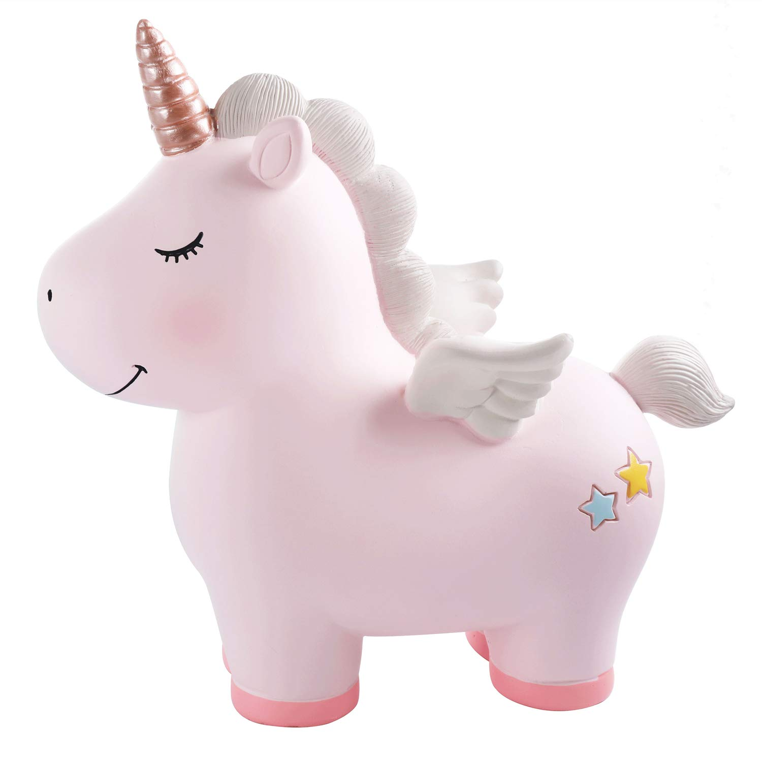 Lovely Rainbow Unicorn Large Size Resin Piggy Bank Coin Bank Money Bank Best Birthday Gifts, for Kids Boys Girls Home Decoration (Rainbow Unicorn-Pink) by Vanvene