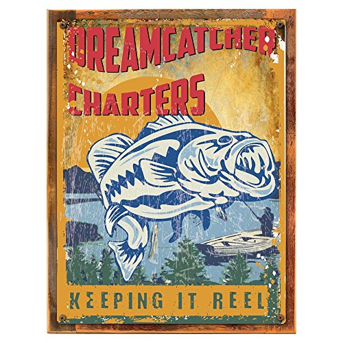 Cheap Wood-Framed Dreamcatcher Fishing Charters Metal Sign, Large Mouth Bass, Mountain Lake Decor on reclaimed, rustic wood