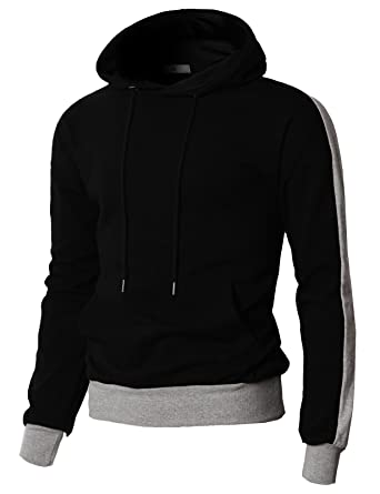 c0eb576f143d H2H Mens Casual Basic Designed Hoodie with Pointed Sleeve Line Black US  M Asia L