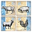 """CoasterStone French Country Absorbent Coasters (Set of 4), 4-1/4"""", Multicolor"""