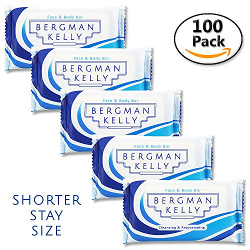 Price comparison product image BERGMAN KELLY Travel Soap Bars (Short Stay 0.5 Oz, 100 Pack) Mini Soap Bars in Bulk Hotel Guest Soap Individually Wrapped Soaps Travel Size Toiletries