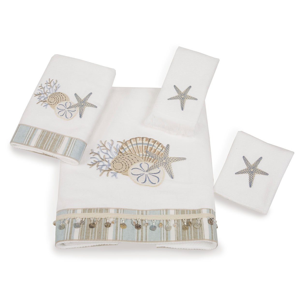 Avanti By the Sea 4-Piece Towel Set, White by Avanti Linens
