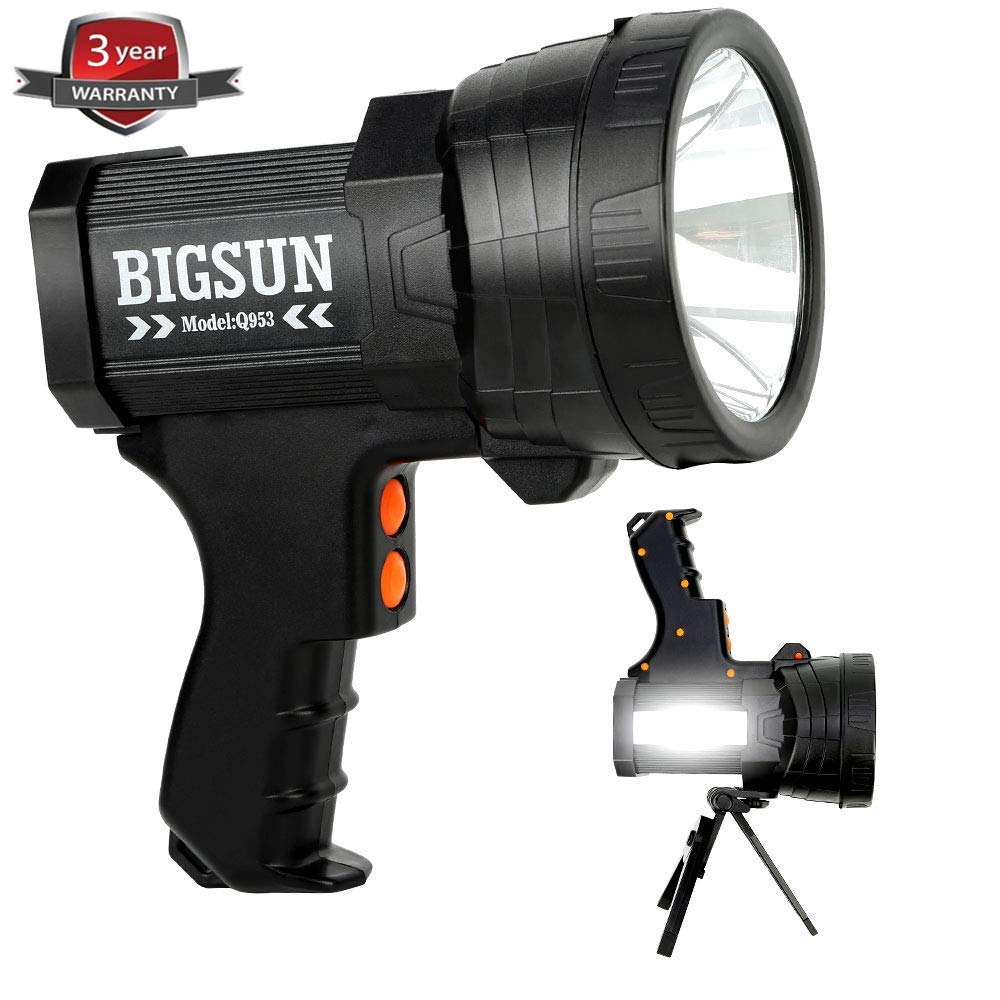 BIGSUN Q953 10000mAh Rechargeable Spotlight Flashlight with 6000 Lumen LED, Foldable Tripod and Strap, Wall and Car Charger Attachments by BIGSUN
