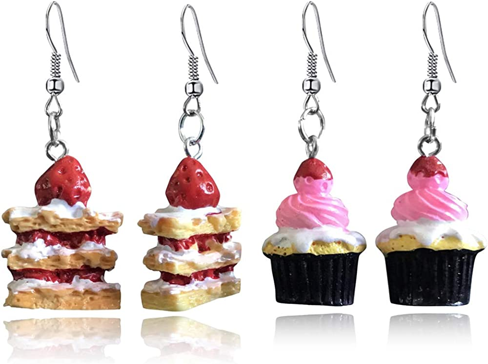 DAMLENG 2 Pairs Unique Handmade Simulation Strawberry Layer Cake Dessert Dangle Drop Earrings Set for Women Girls Teens funny Creative Ice Cream Food Jewelry Gifts