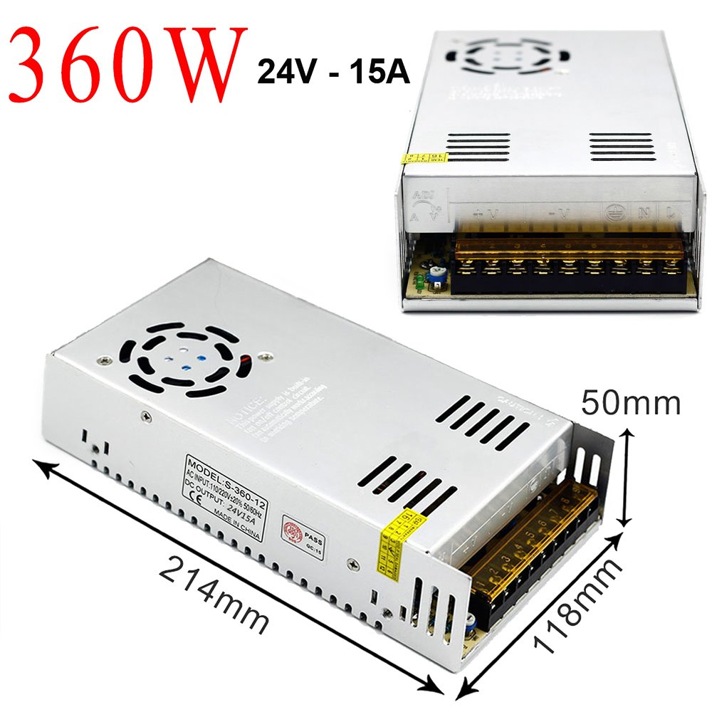 EAGWELL 24v 15a DC Universal Regulated Switching Power Supply 360w for CCTV,Radio,Computer Project, 3D Printer,LED Driver by EAGWELL (Image #2)