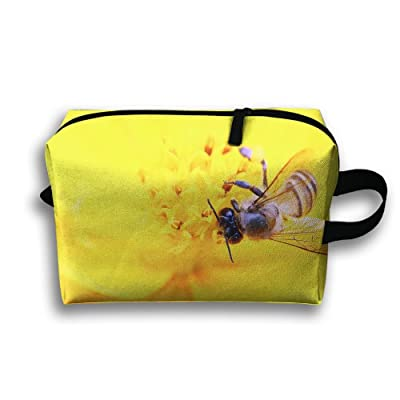 Michgton Cosmetic Bag Bee And Yellow Flower.jpeg Women Durable 3D Printing Travel Multifunction Makeup Case