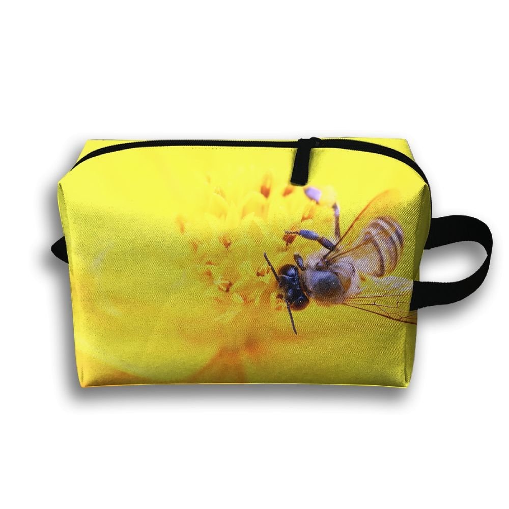 3e7be4fc4451 delicate LEIJGS Yellow Honeybee Flower.jpeg Small Travel Toiletry Bag Super  Light Toiletry Organizer For