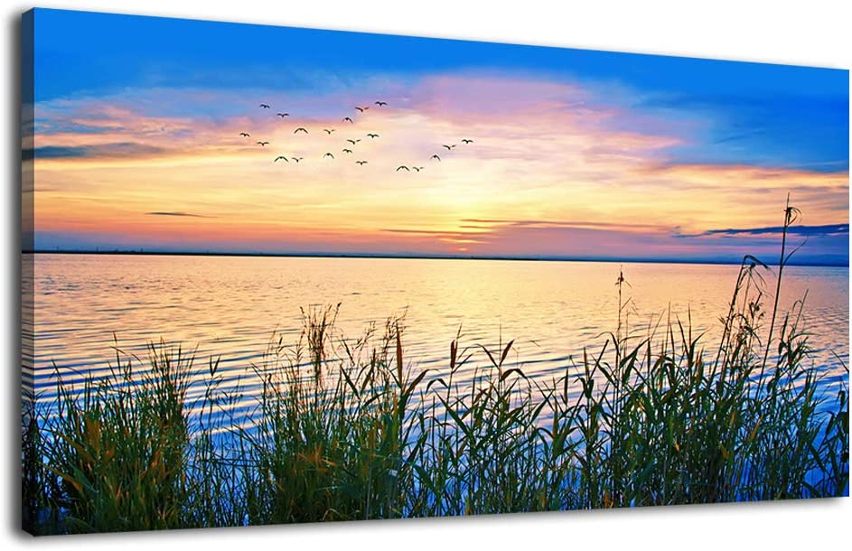 """Lake Sunset Wall Art for Living Room Decoration Landscape Nature Canvas Pictures for Bedroom Wall Art Decor Framed Ready to Hang 20"""" x 40"""""""