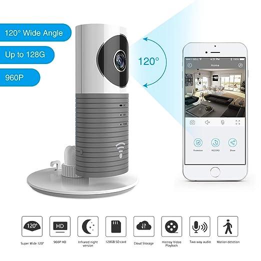 Clever Dog 2nd generation 960P 120 ° Lente Gran Angular Cámara wifi de seguridad Soporte Max 128GB Tarjeta SD (Grey)