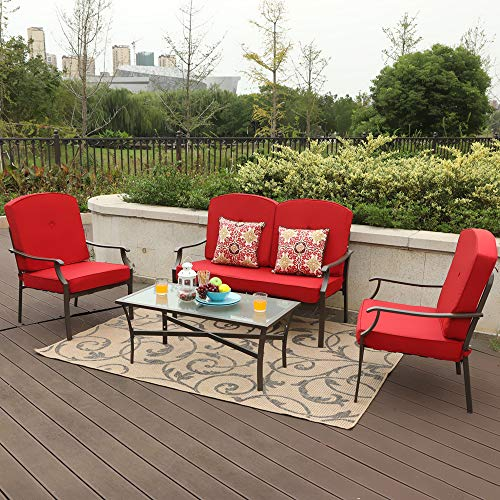 PHI VILLA 4-Piece Bistro Sets Cushioned Patio Furniture Conversation Set w/Loveseat-2 Chairs and 1 Coffee Table (Red)