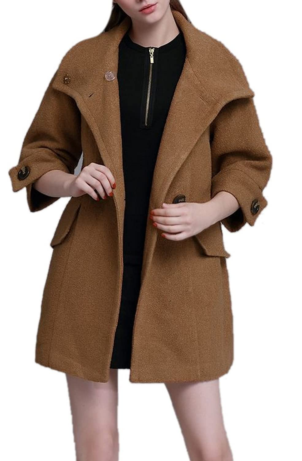 Allbebe Women's New Lapel Collar Wool Coat Double Breasted Trench Coat