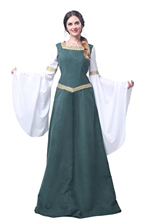 Nuoqi Womens Medieval Dress Cosplay Costume Fancy Dress Maxi Dresses (UK12, GC216A-NI