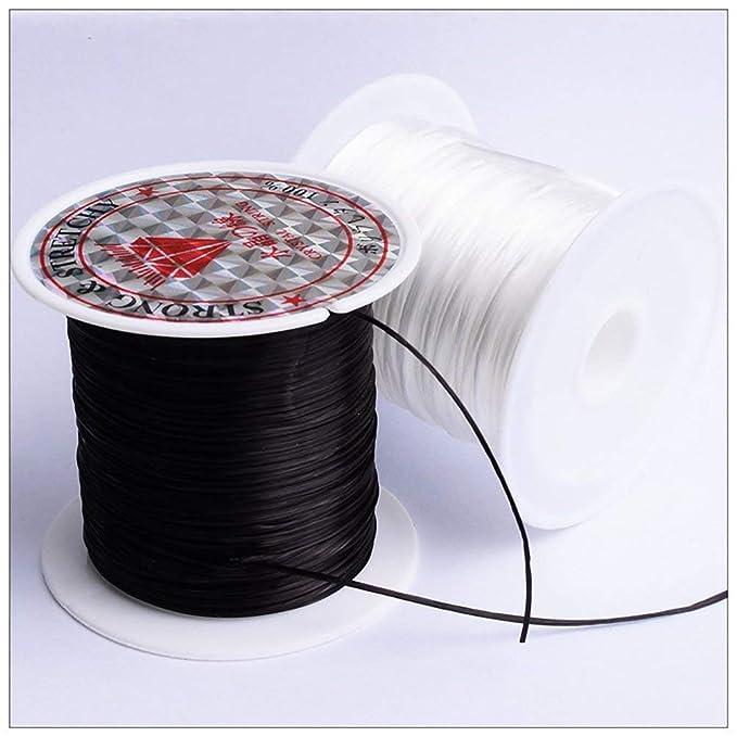 Cord/ón de poli/éster el/ástico de cadena el/ástica plana de 40 m Negro para la fabricaci/ón de joyas Pulsera Rebordear accesorios artesanales de hilo 43 yardas