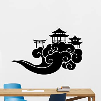 Japanese Temple In Clouds Wall Decal Chinese Temple House Asian Vinyl  Sticker Japanese Wall Decor Cool