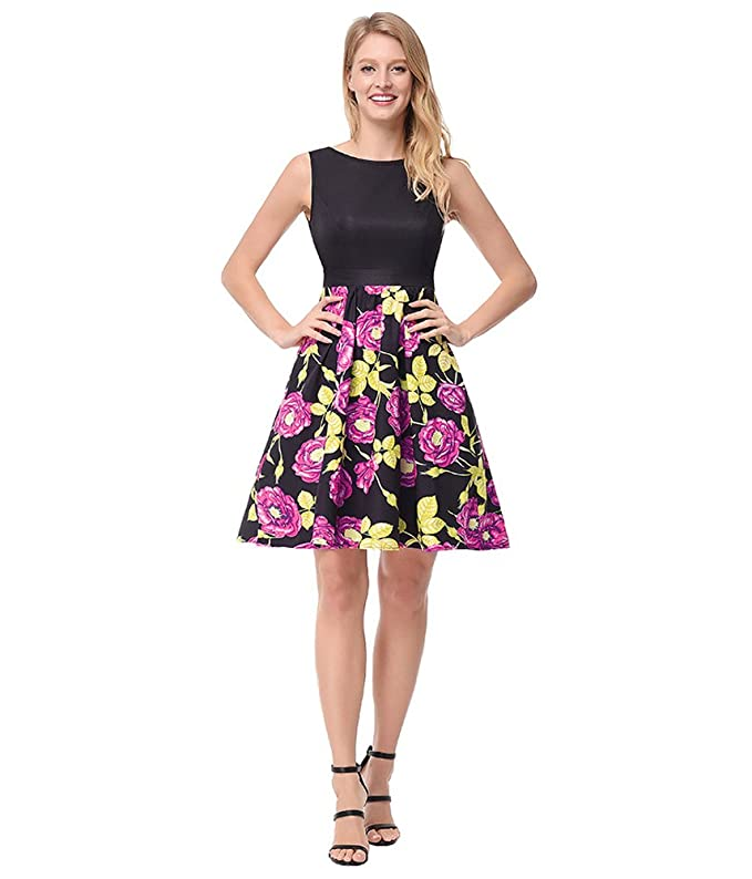 antaina Estampado de Flores de Color Rosa Chaleco Negro Hit Color Vintage Party Skater Midi Vestido de Mujer: Amazon.es: Ropa y accesorios