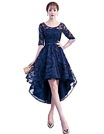 d0f83eeca4f QueenSeven Women Half Sleeve Lace Appliques Party Formal Evening Gown Dress  for Wedding Guest(M