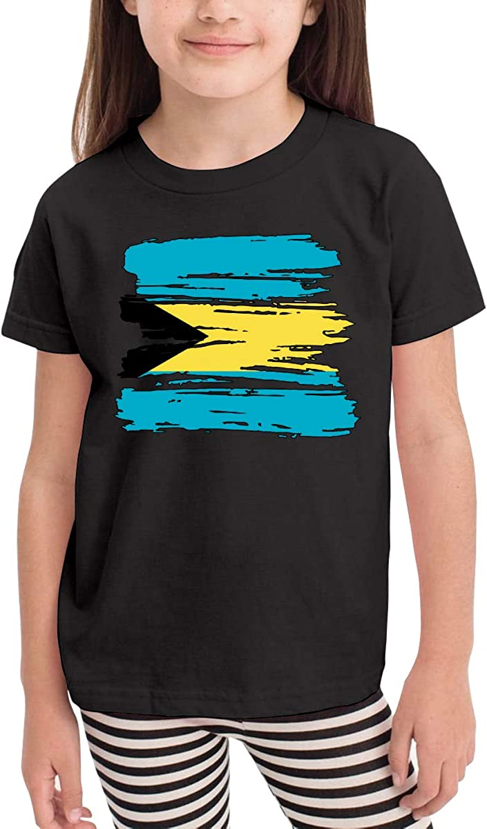 Grunge Bahamas Flag Kids Crew Neck Short Sleeve Shirt Tee Jersey for Toddlers