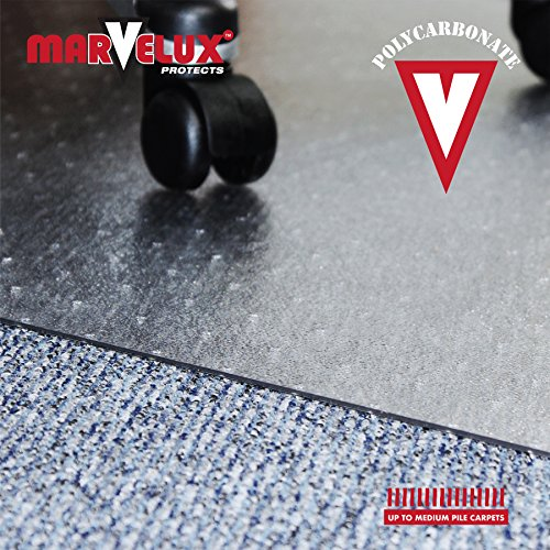 Marvelux 48'' x 60'' Polycarbonate (PC) Rectangular Chair Mat for Low, Standard and Medium Pile Carpets | Transparent Carpet Protector | Multiple Sizes by Marvelux (Image #2)