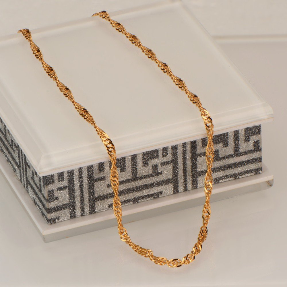 New Trendy 18K Gold Plated Chains Necklace Copper Jewelry With Simple Unique Design For Men Women Gift N50140 DODO JEWELRY