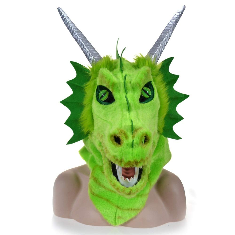 KX-QIN Halloween Carnival Animal Cosplay Party Grey Dragon Head Moving Mouth Animal mask Deluxe Novelty Halloween Costume Party Latex Animal Head Mask for Adults and Kids (Color : Green) by KX-QIN