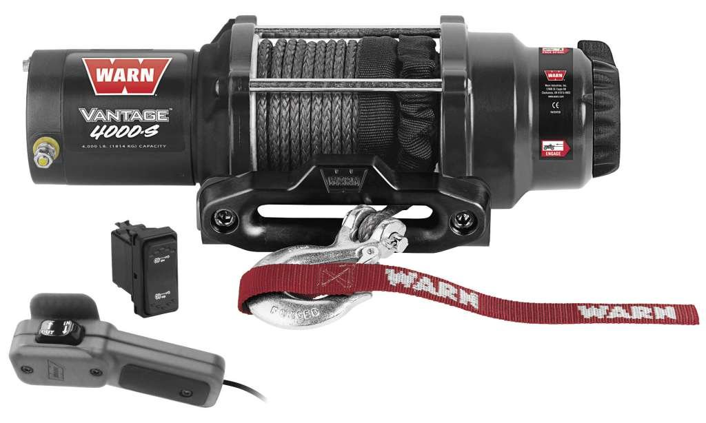 New Warn Vantage 4000 lb Winch With Synthetic Rope & Model Specific Mounting Hardware - 2009-2013 Kawasaki Teryx 750 4x4 Sport UTV