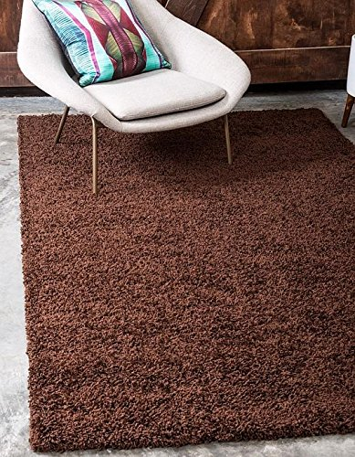 Brown 3'3'x5'3' Area Rug (Unique Loom Solid Shag Collection Chocolate Brown 3 x 5 Area Rug (3' 3
