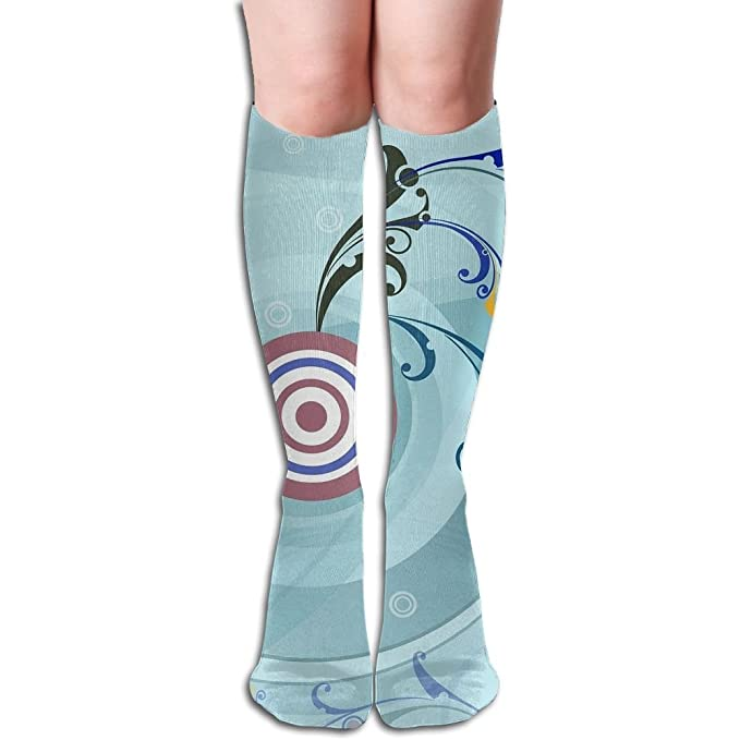 e688d1a680 Tube High Keen Sock Boots Crew Circle Target Pattern Compression Socks Long  Sport Stockings at Amazon Women's Clothing store: