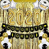 Graduation Party Supplies 2020 - Pack of 68 Gold and Black Graduation Party Decorations - Graduation Banner Balloon Foil Fringe Curtain as Backdrop