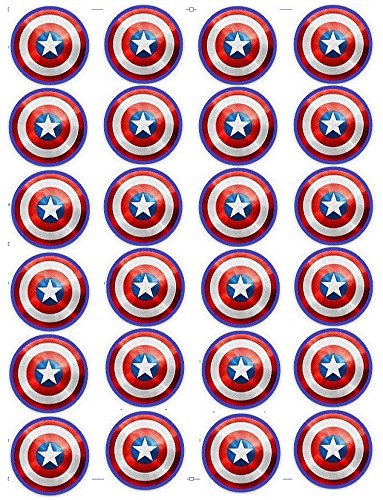 Captain America Shield Edible Cupcake Toppers x -