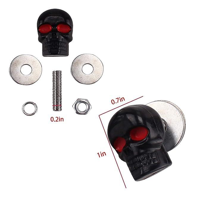 Heart Horse 6mm License Plate Tag Frame Windshield Trim Bolts Screws Fantastic Replacement Black Skull Red Eye 4 Pack,Black